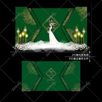 祖母绿主题婚礼效果图设计金花纹婚庆迎宾区