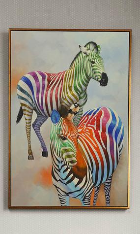 纯手绘油画时尚彩色斑马艺术玄关