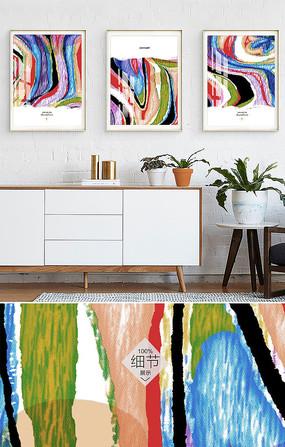 三联抽象简约北欧手绘油画客厅装饰画