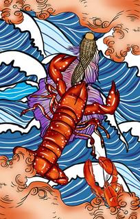 国潮风大龙虾美食小吃插画