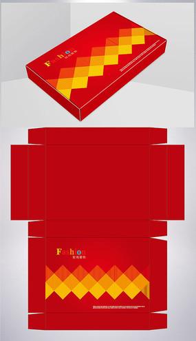 红色菱形背景服装彩盒