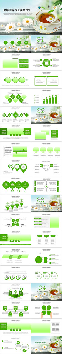 健康美容养生花茶饮品动态PPT模板