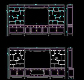 两款带博古架电视背景柜架