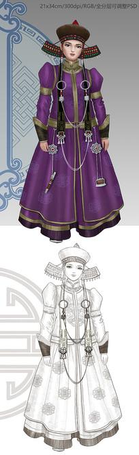 蒙古族女性人物插图设计