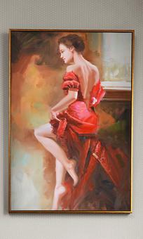 纯手绘高清油画红衣性感女郎艺术玄关