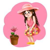 原创儿童节观察花的女孩