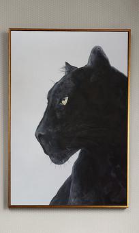 纯手绘黑白黑豹组合油画