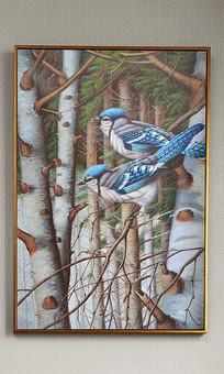 纯手绘油画雪林蓝雀艺术玄关