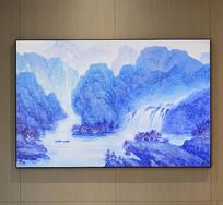 纯手绘油画意境蓝调山水艺术壁画
