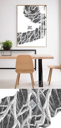 黑白北欧简约抽象无框画商务公司装饰画