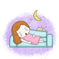 卡通女孩睡觉沙发