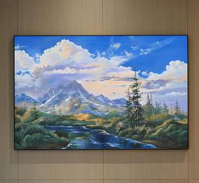 纯手绘油画自然风光艺术壁画