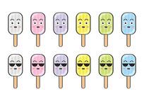 卡通食物表情彩色冰棒