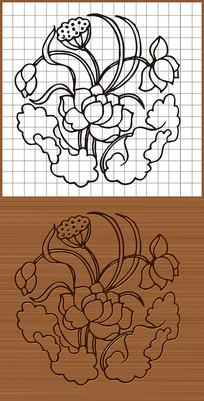 莲花荷花矢量雕刻图案
