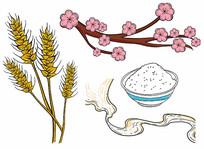 原创国潮大米麦穗
