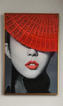 纯手绘中国扇子人物油画艺术玄关