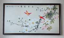 纯手绘中式水墨玉堂富贵艺术壁画
