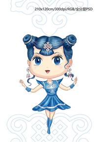 蒙古卡通女孩人物设计插图