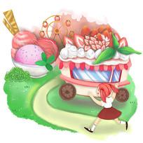 原创草莓冰激凌草莓蛋糕儿童童话乐园插画