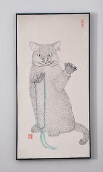 纯手绘中式油画发财猫艺术玄关