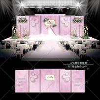 粉色水彩主题婚礼大理石纹婚礼效果图设计