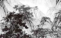高端大气时尚中国风水墨国画山水背景墙