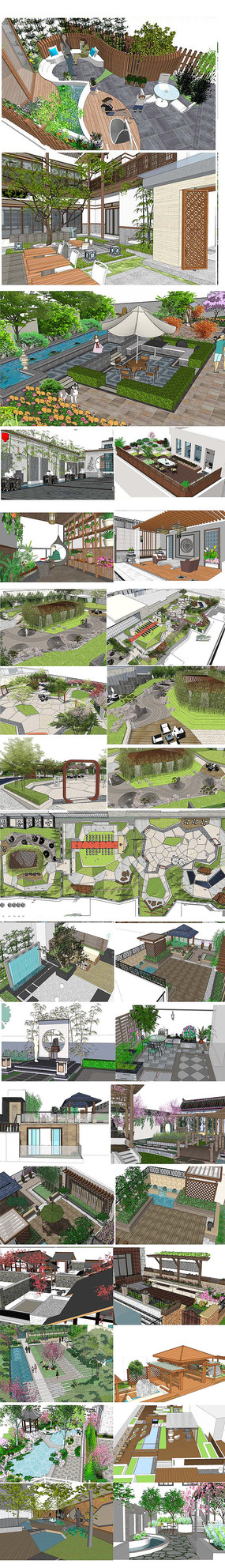 屋顶园林SU模型
