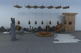 现代庭院小品3D模型