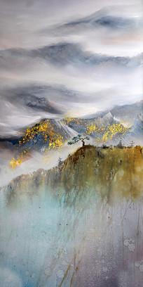纯手绘泰山山脉风景油画玄关