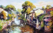高清手绘江南水乡风景油画无框画