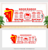 红色党建文化墙党员活动室布置