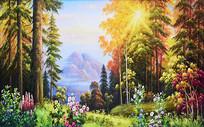 纯手绘森林风景油画背景墙