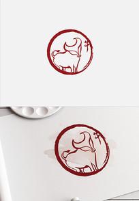 牛年牛印章设计牛图案十二生肖牛手绘水墨