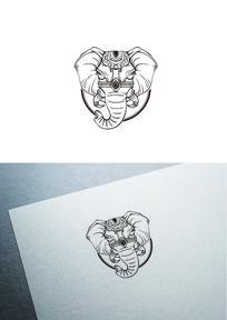 手绘线条大象图标LOGO