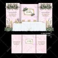 粉色主题婚礼大理石纹婚礼迎宾区背景设计