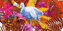 高端大气红色热带火烈鸟叶子背景墙