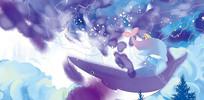 高端大气蓝色原创梦幻鲸鱼背景墙