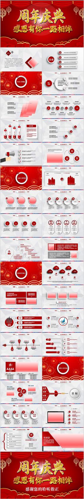 红色喜庆公司周年庆ppt模板活动策划方案