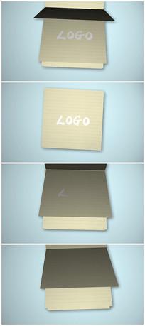 简洁书本翻页logo片头视频模板