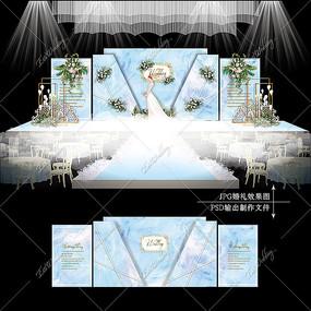 蓝白色主题婚礼效果图设计婚庆舞台背景