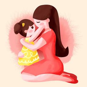 母亲节母婴插画
