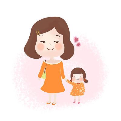 手绘亲子卡通母亲节