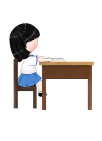 原創可愛卡通人物坐在椅上看書學生女孩