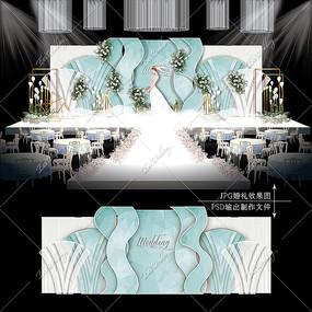 蒂芙尼蓝婚礼主题婚礼效果图设计大理石纹