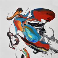 高清纯手绘抽象艺术油画无框画