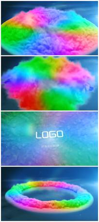 简易时尚多彩烟雾logo揭示视频模板