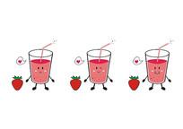 卡通食物表情饮料杯草莓汁