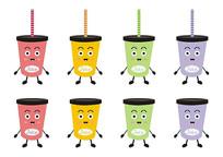 卡通食物表情饮料彩色果汁杯