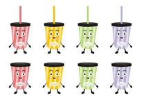 卡通食物表情饮料彩色条纹果汁杯