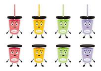 卡通食物表情饮料彩色透明果汁杯